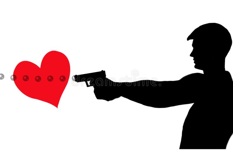 shot-heart-man-shooting-bubbles-caliber-pistol-thru-red-50429885